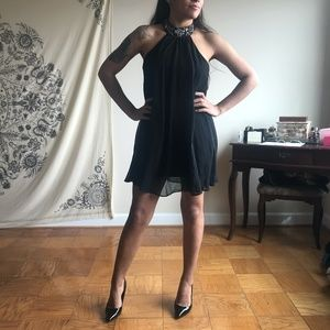 Black Cocktail Dress with Beaded Neck